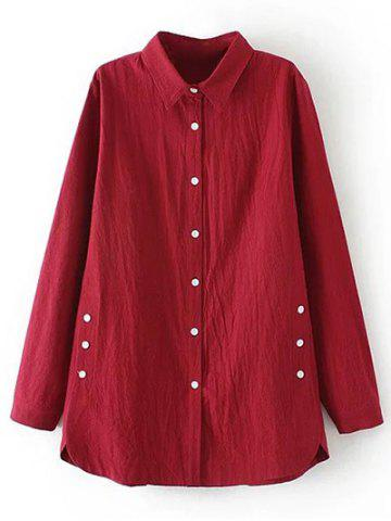 Outfits Plus Size Button Decorated Linen Shirt BURGUNDY 4XL