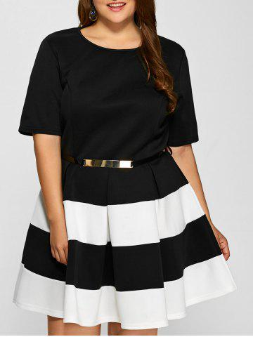 Fashion Plus Size Belted Striped Pleated Skater Dress WHITE 3XL