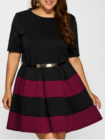 Plus Size Belted Striped Pleated Skater Dress - Wine Red - 3xl