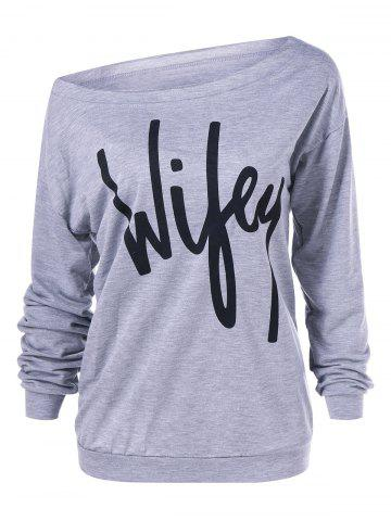 Affordable Skew Collar Graphic Print Sweatshirt