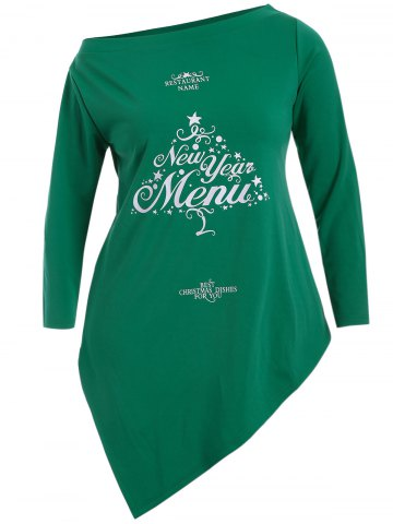 Outfit Christmas Letter Skew Neck Longline Tee GREEN 5XL