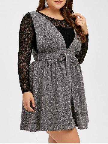 Hot Lace Insert Hollow Out Blouse and Belted Plaid Skirt