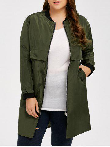 Shop Armband Design Zipper Fly Long Trench Coat - 5XL ARMY GREEN Mobile