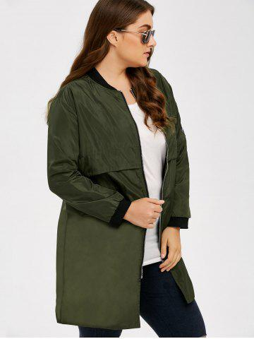 Chic Armband Design Zipper Fly Long Trench Coat - 5XL ARMY GREEN Mobile