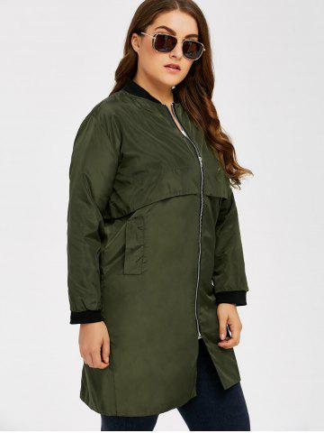 Discount Armband Design Zipper Fly Long Trench Coat - 5XL ARMY GREEN Mobile