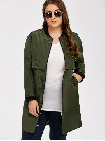 Chic Armband Design Zipper Fly Long Trench Coat - 4XL ARMY GREEN Mobile
