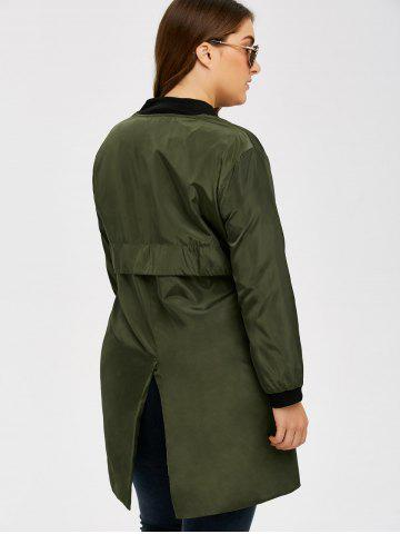 Trendy Armband Design Zipper Fly Long Trench Coat - 3XL ARMY GREEN Mobile