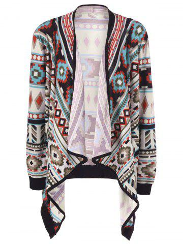 Chic Plus Size Contrast Trim Tribal Cardigan COLORMIX 2XL
