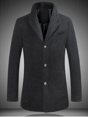Store Stand Collar Single Breasted Woolen Coat BLACK 5XL