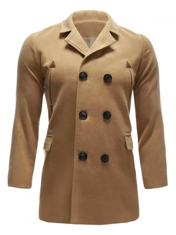 Back Vent Pocket Wool Blend Pea Coat - Khaki - S