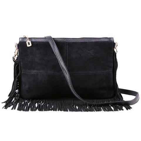 Fancy Suede Fringe Crossbody Bag