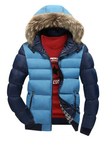 Buy Zip Pocket Color Insert Faux Fur Hooded Padded Jacket AZURE XL