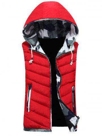 Outfits Camouflage Trim Hooded Vest RED 3XL
