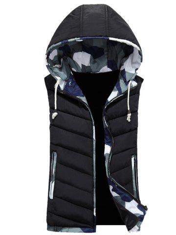 Fashion Camouflage Trim Hooded Vest