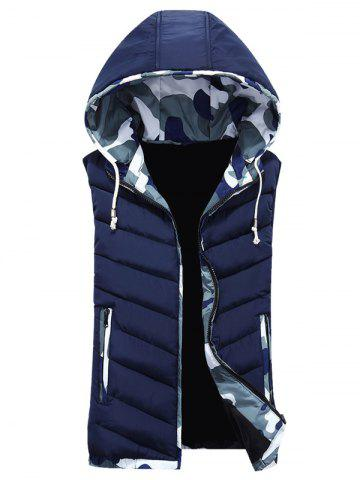 Camouflage Trim Hooded Vest - Cadetblue - M