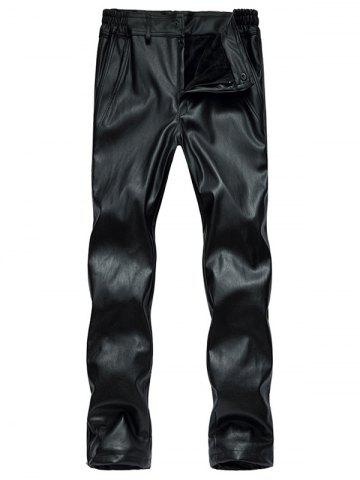 Sale Zipper Cuff Faux Leather Flocking Pants