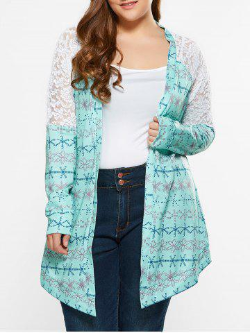 Outfits Plus Size Lace Trim Tribal Cardigan LIGHT GREEN 5XL
