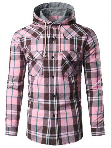 Outfit Chest Pocket Button Up Hooded Plaid Shirt