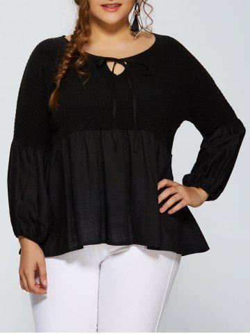 Affordable Puff Sleeve Knitted Insert Blouse BLACK 4XL
