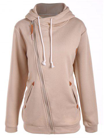 Inclined Zipper Drawstring Plus Size Hoodie - Yellowish Pink - 4xl