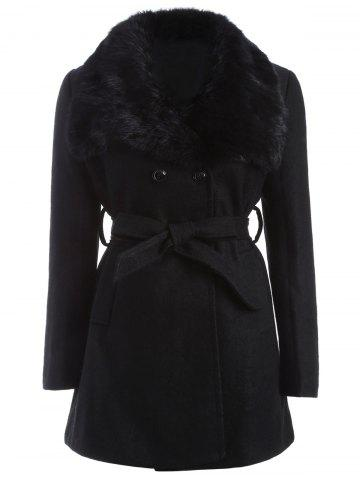 Discount Plus Size Faux Fur Belted Woolen Coat BLACK 5XL