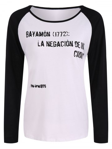 Discount Casual Hazy Letters Pattern Raglan Sleeve T-Shirt