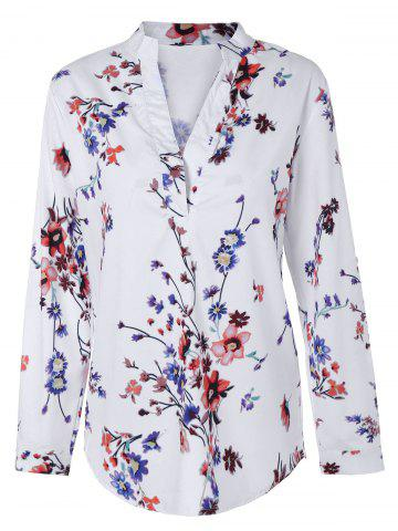 Fancy Floral Print V Neck Tunic Blouse