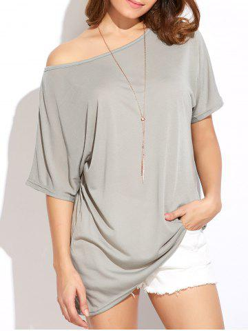 Outfit Casual Oversized Skew Neck Irregular T-Shirt