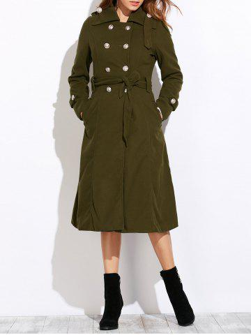 Unique Belted Double Breasted Long Coat ARMY GREEN 2XL