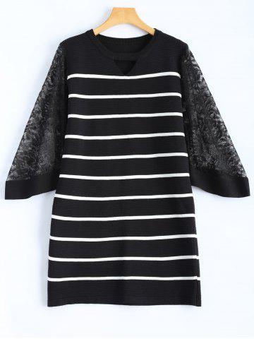 Trendy Slim Lace Insert Striped Dress