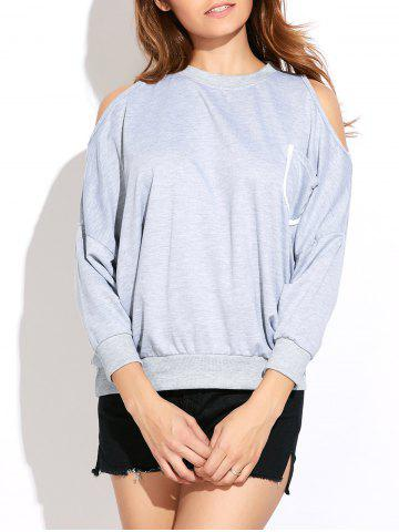 Cheap Casual Front Pocket Cold Shoulder Sweatshirt