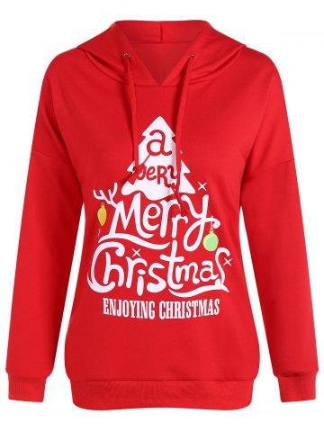 Active Merry Christmas Drawstring Hoodie - Red - L