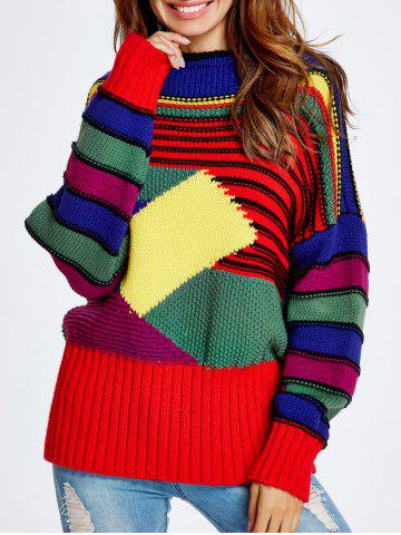 Shop Christmas Colorful Striped Sweater COLORFUL ONE SIZE