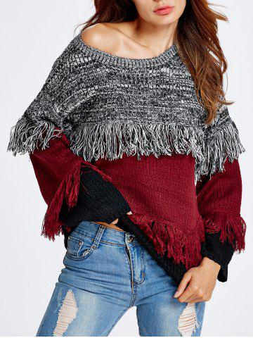 Hot Warm Color Block Fringed Sweater