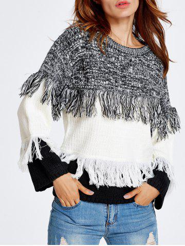 Cheap Warm Color Block Fringed Sweater WHITE ONE SIZE