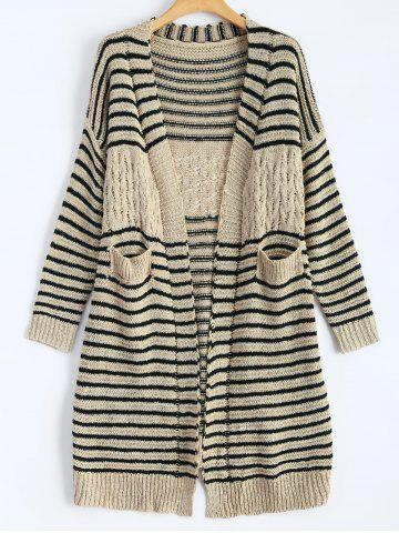 Store Cable Knit Striped Infinite Cardigan