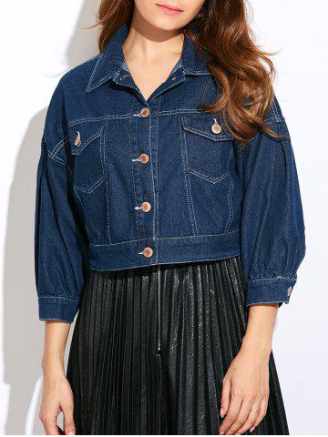 Shop Double Front Pockets Crop Thin Jean Jacket