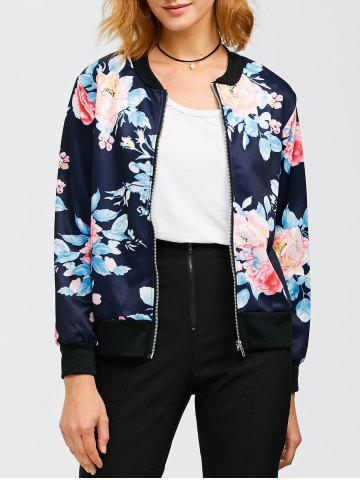 Fancy Flourishing Flowers Bomber Jacket PURPLISH BLUE XL