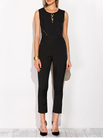 Outfits Fitted Lace Insert Sleeveless Jumpsuit