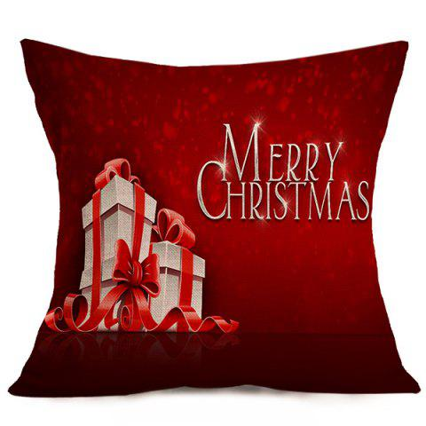 Chic Merry Christmas Gift Linen Seat Cushion Pillow Case