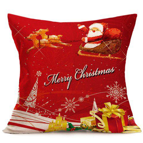 Fancy Merry Christmas Santa Linen Seat Cushion Pillow Cover RED