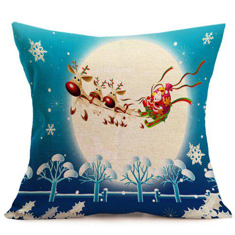 Chic Merry Christmas Santa Flying Cushion Pillow Cover BLUE