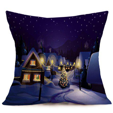 Affordable Peaceful Night Christmas Linen Cushion Pillow Cover DEEP PURPLE