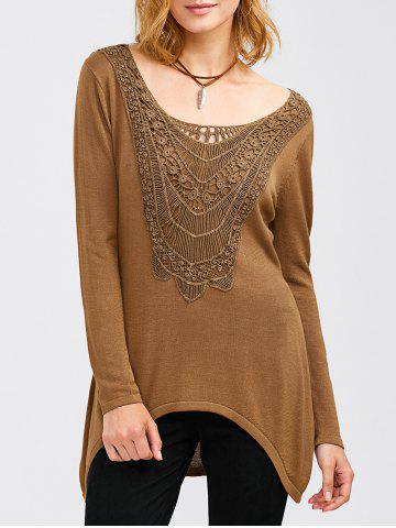 Trendy Crochet Tunic T-Shirt CAMEL XL