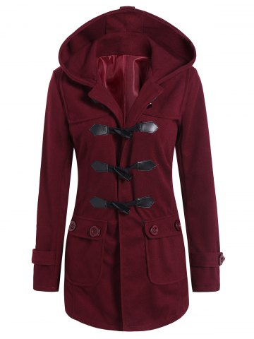 Latest Hooded Flap Pockets Duffle Coat WINE RED L