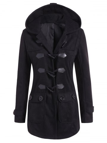 Trendy Hooded Flap Pockets Duffle Coat