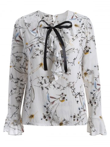 New Bell Sleeves Blossom Print Pussy Bow Blouse WHITE XL