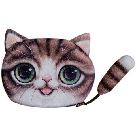 Best Colour Splicing Cat Shape Zipper Coin Purse - COFFEE  Mobile