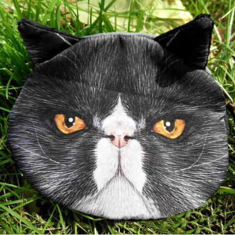 Store Zip 3D Cat Pattern Colour Block Coin Purse - BLACK  Mobile
