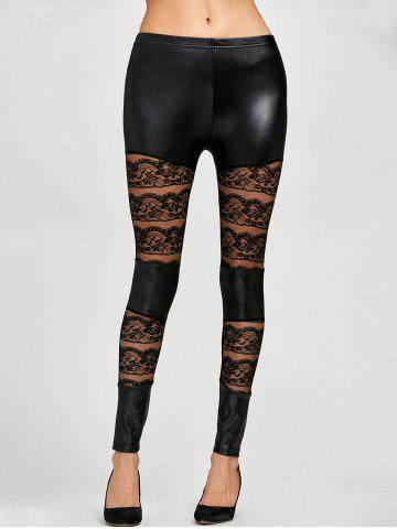 Store Lace Insert PU Leather Leggings BLACK ONE SIZE